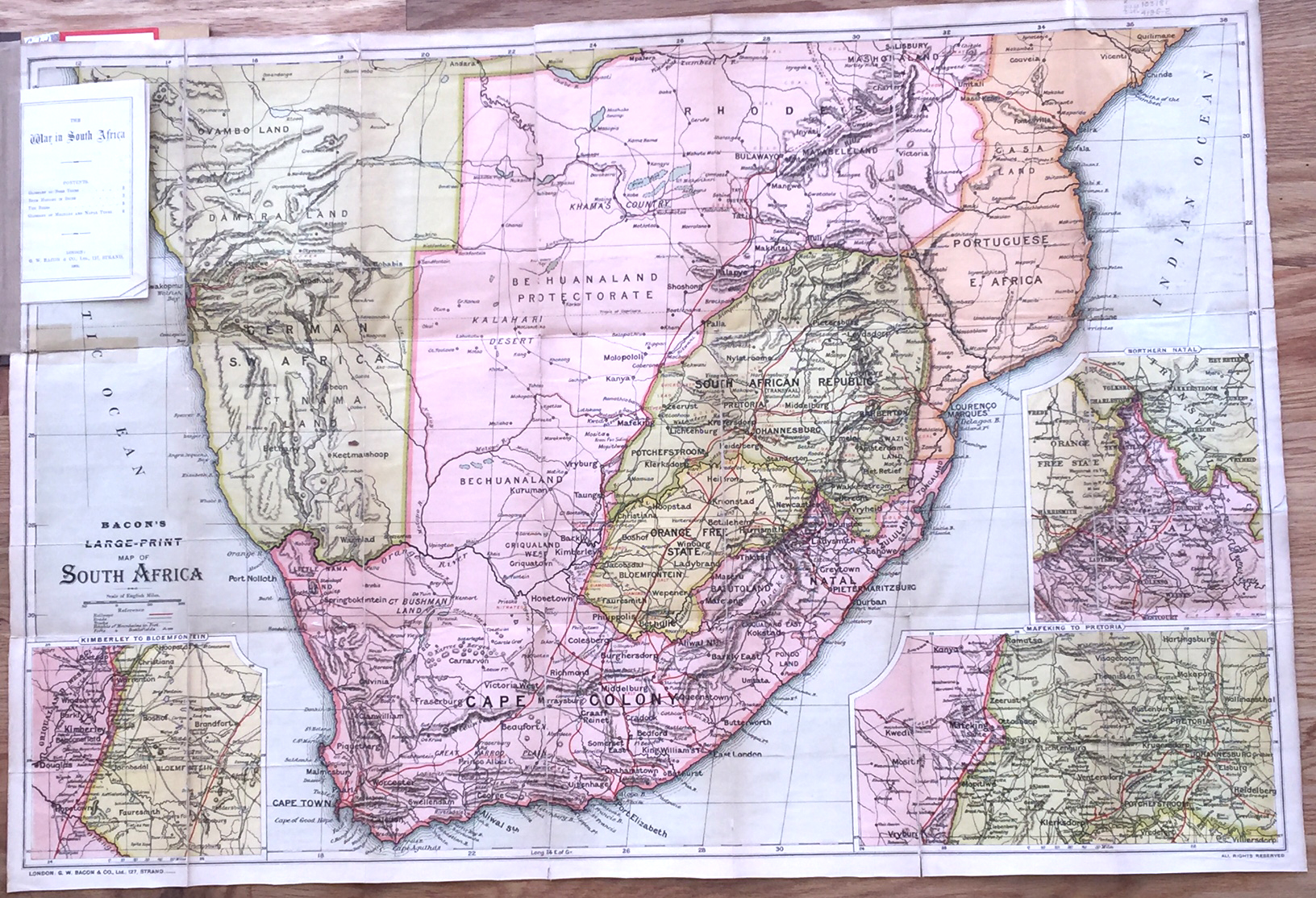 The Transvaal War Bacons Large Print Map of South Africa 1900 Bacon