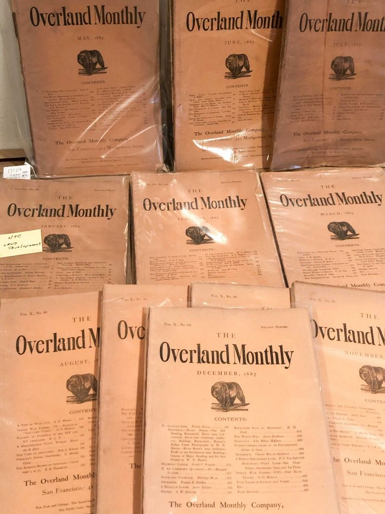 The Overland Monthly Devoted to the Development of the Country January-Mar. and May- December, 1887 11 of 12 issues for year. Vols. IX and X.