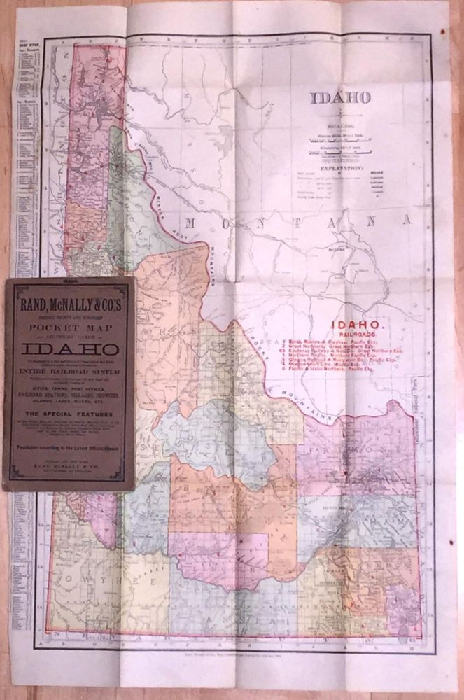Indexed County and Township Pocket Map and Shippers' Guide of IDAHO (1904). Rand McNally.