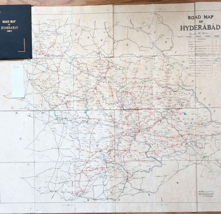 Four Old India Road maps ca. 1930 -1950, Environs of Hyderbad, Bombay, Roads of all India. M. Giles.