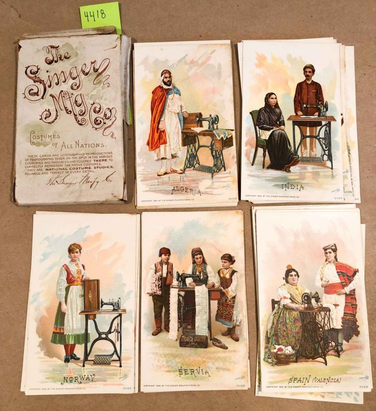 Costumes of all Nations - Singer Sewing Machine advertisements 36 cards in case. Singer Sewing Machines.