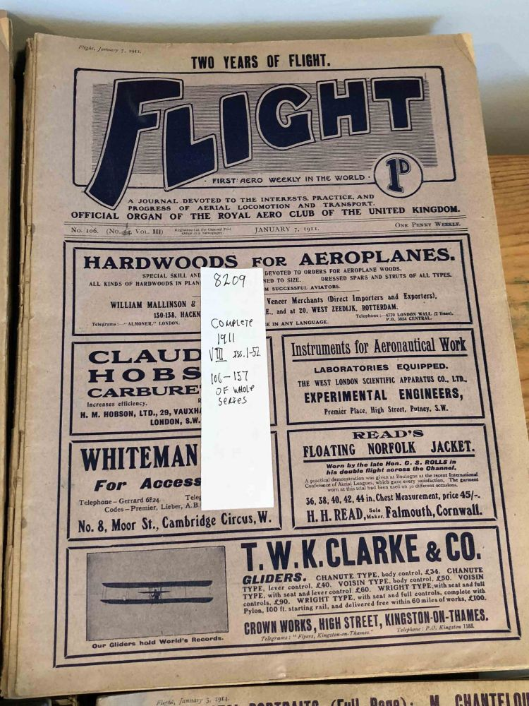 FLIGHT A Journal Devoted to the Interests, Practice, and Progress of Aerial Locomotion and Transport (Jan. - Dec , 1911 52 issues - complete year)