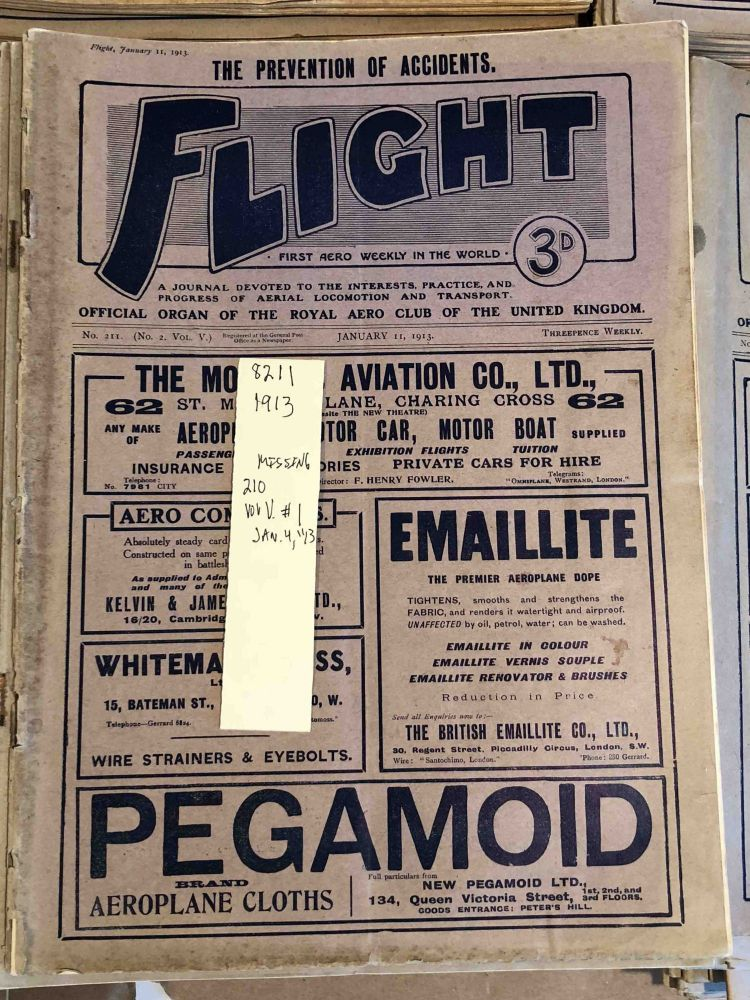 FLIGHT A Journal Devoted to the Interests, Practice, and Progress of Aerial Locomotion and Transport (Jan. - Dec , 1913 51 issues - 1 missing from year)