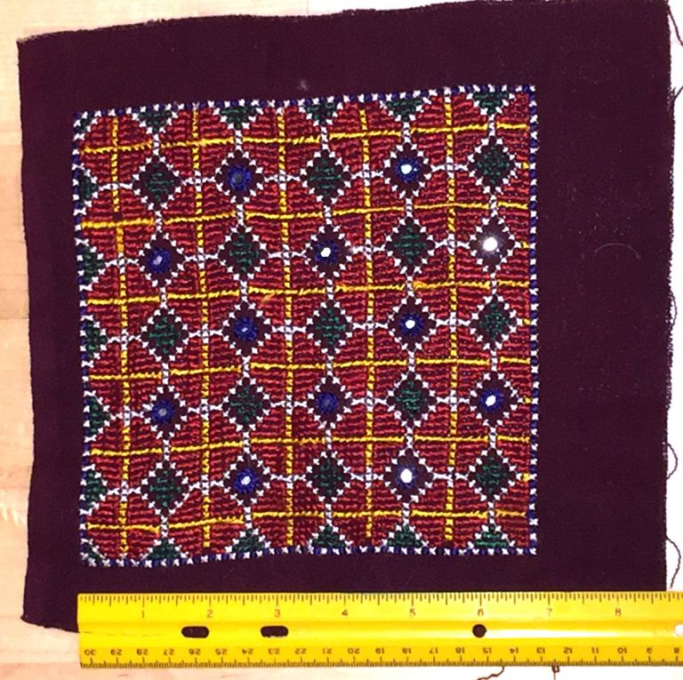 Embroidery for Pillow or Cushion with mirrors. India.