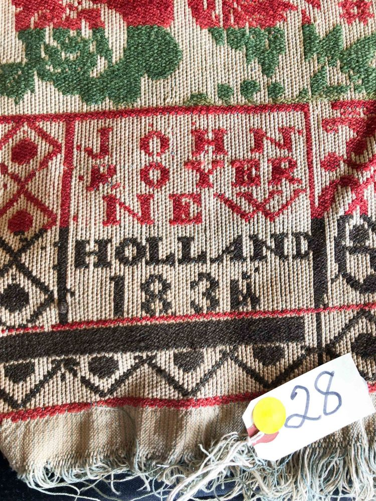 """American Coverlet ca. 74"""" x 80"""" - """" John Royer New Holland 1836(4)"""" green, brown, red on beige. John Royer."""