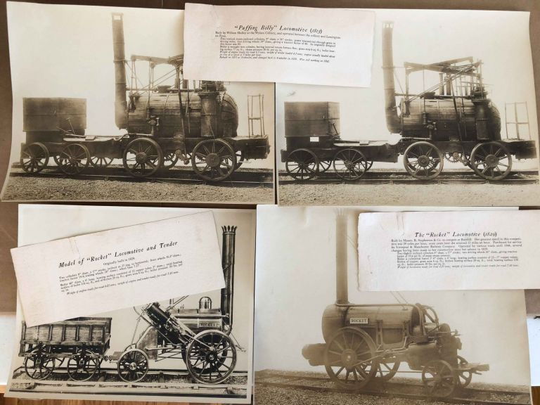 Agenoria 1829, Sans Pareil 1829, Rocket 1829, Puffing Billy 1813, Novelty 1829, Rocket 1829, Watt's Sun and Planet Engine 1788, Large Old Locomotive and steam engine Photographs. London Science Museum.