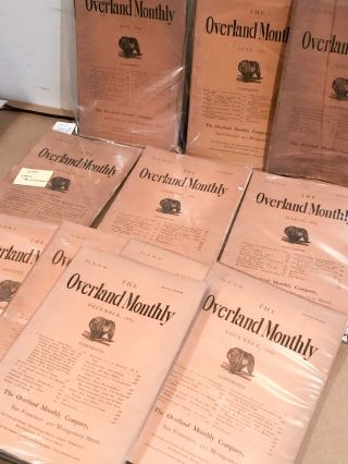 The Overland Monthly Devoted to the Development of the Country January-Mar. and May- December, 1887 11 of 12 issues for year. Vols. IX and X