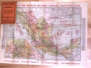 War Map of Mexico showing U. S. Battleship Fleet, Frontier...