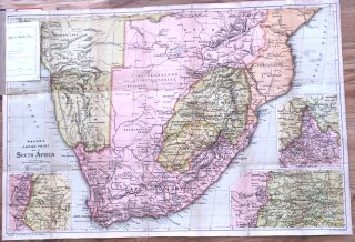 The Transvaal War Bacon's Large - Print Map of South Africa 1900