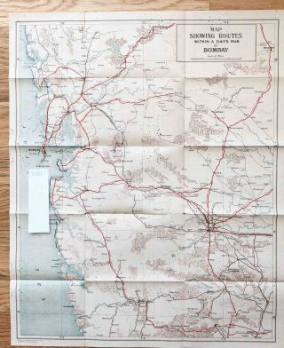 Four Old India Road maps ca. 1930 -1950, Environs of Hyderbad, Bombay, Roads of all India