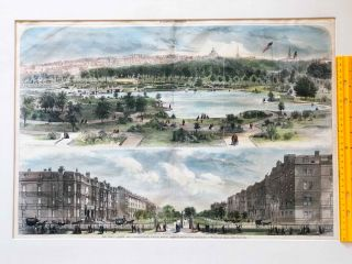 Hand Colored View of Boston Commons and Commonwealth Ave. From