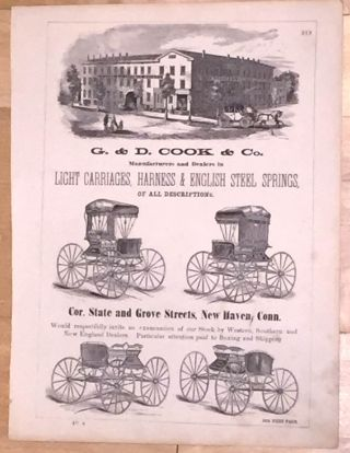 G. &. D. Cook & Co. Manufacturers and Dealers in Light Carriages, Harness & English Steel Springs (Broadsheet advertisement). G. Cook, D.