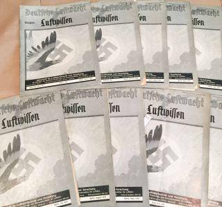 Deutsche Luftwacht Luftwissen (Jan.- Dec. but missing June and Oct., 1937 10 loose issues