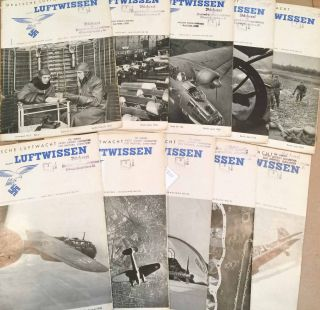 Deutsche Luftwacht Luftwissen (Feb..- Dec. except Jan. and July missing, 1940 10 loose issues