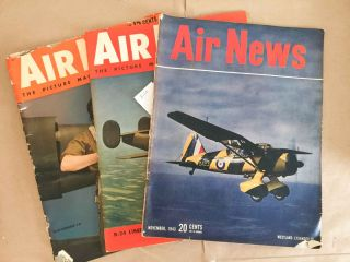 Air News The Picture Magazine of Aviation (Jan., Apr., Nov., 1943 3 issues). Phillip Andrews.
