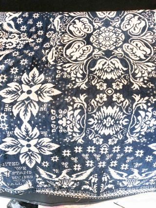"American Coverlet Half ca. 36"" x 86"" ""1840 by J. Cunningham Oneida Co. NY"""