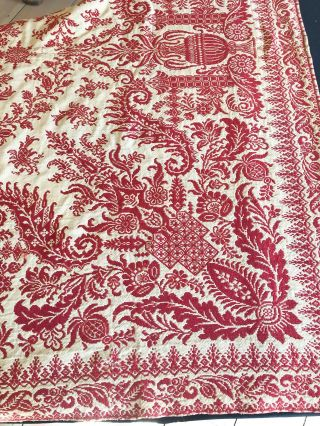 "American Coverlet ca 75"" x 83"" ca. 1870 red on beige"