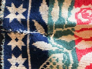"""American Coverlet ca 76x 86"""" - """" E. Ettinger & Co Aaronsburg Centre County 1851"""" red, blue, green on beige"""