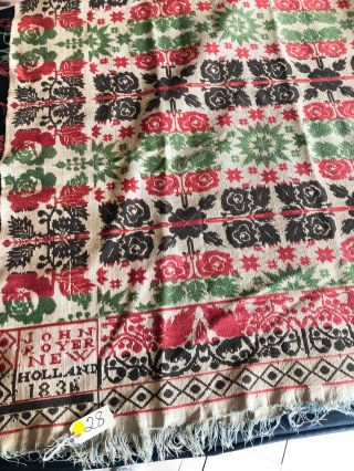 """American Coverlet ca. 74"""" x 80"""" - """" John Royer New Holland 1836(4)"""" green, brown, red on beige"""