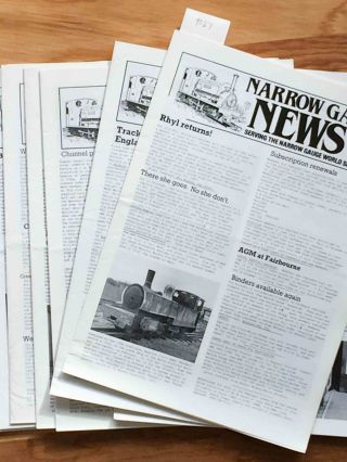 Narrow Gauge News (10 issues 160-169 from 1987, 1988). Alan Burgess.